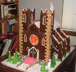The finished gingerbread house cathedral.  You can see the flying buttresses on the side.
